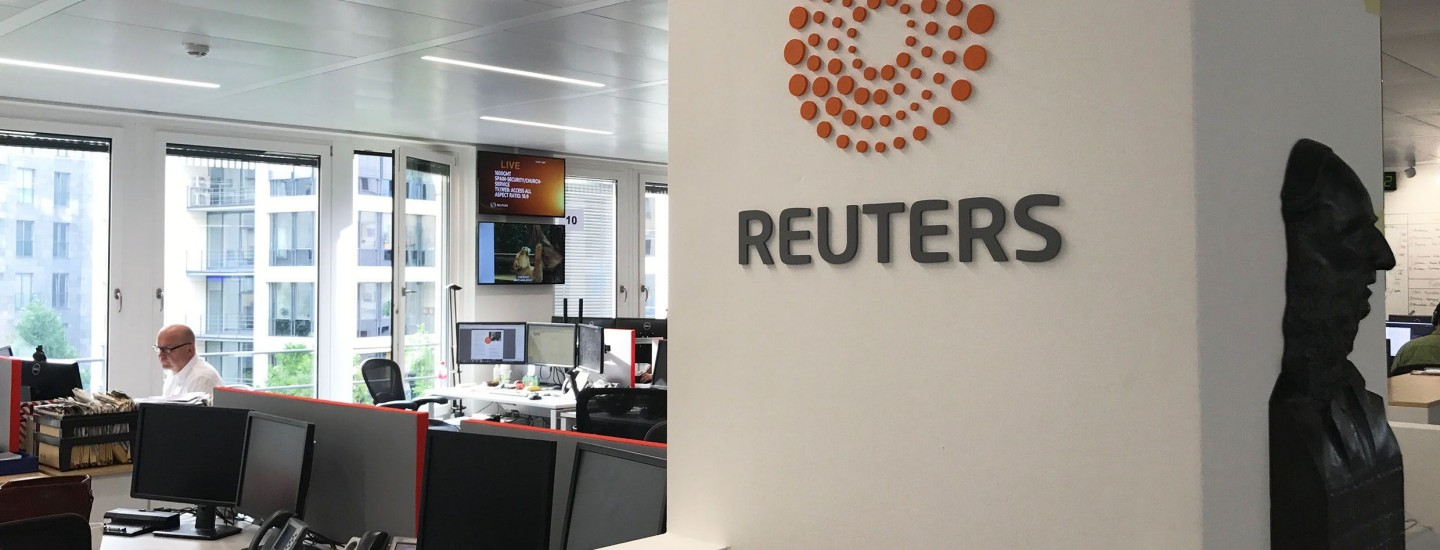 Thomson Reuters Berlin office interior and logo