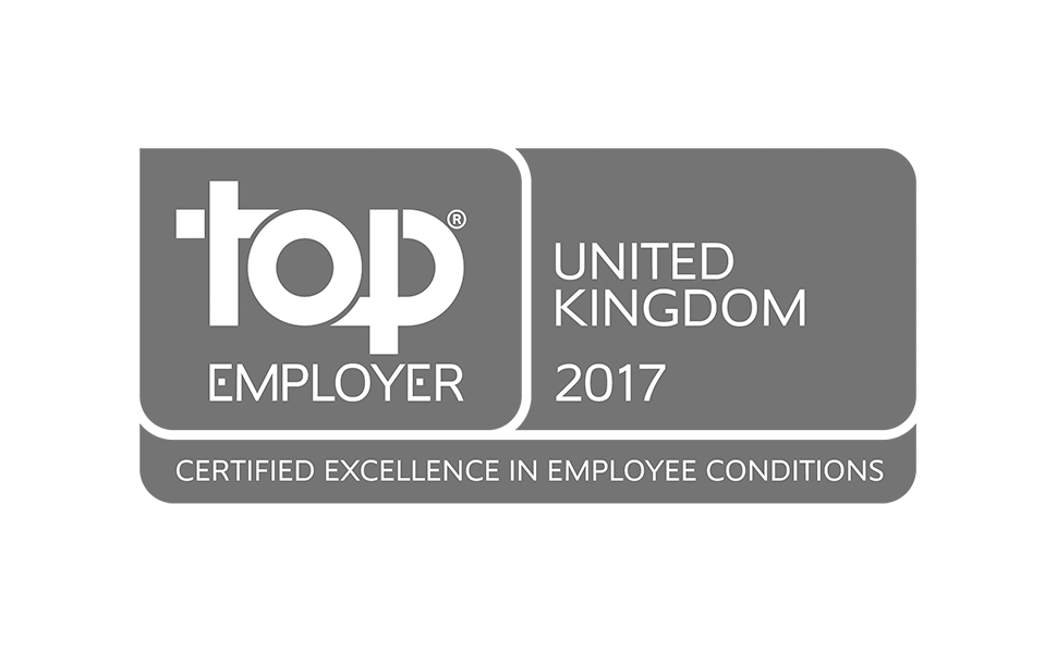 Top Employer certified excellence in employee conditions United Kingdom 2017 award