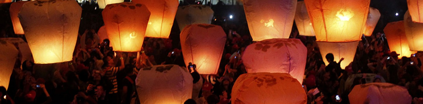 People release sky lanterns ahead of the traditional Chinese Lantern Festival in Pingxi, New Taipei city, northern Taiwan