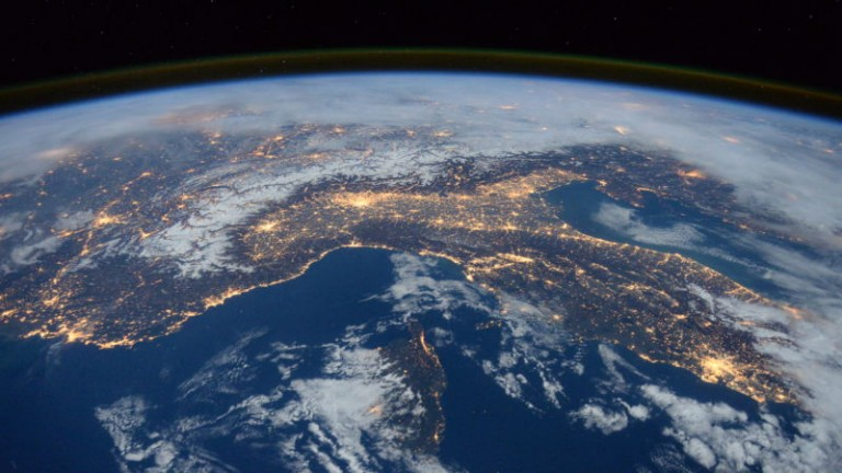 Photo of Italy, the Alps, and the Mediterranean taken from space