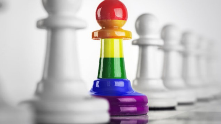 Chess pieces with rainbow color