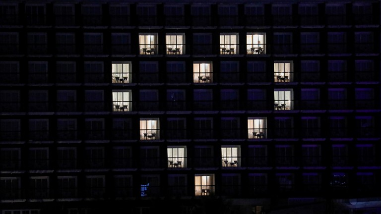 An exterior view of The 101 Hotel shows rooms illuminated to form a heart as a thank you and to show support to people, especially the country's medical workers tackling coronavirus disease (COVID-19) amid its spread in Bogor, Indonesia