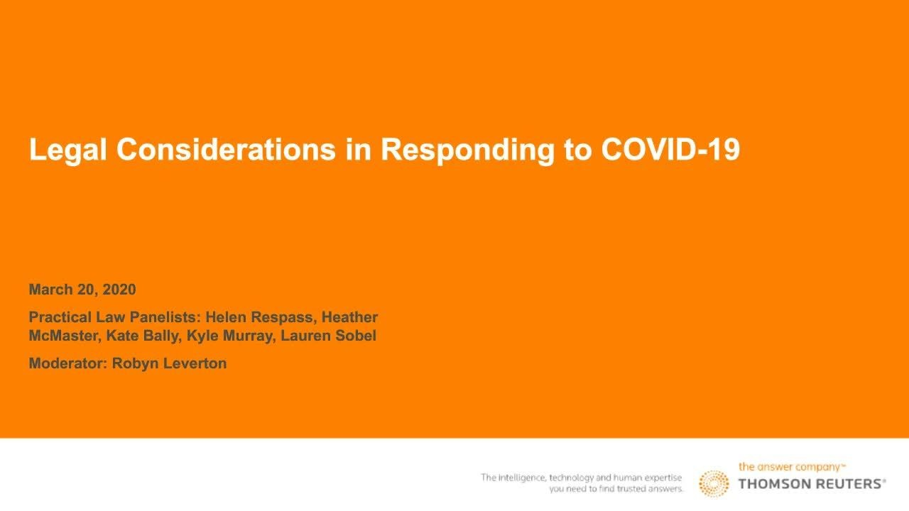 Legal Considerations in Responding to COVID-19 practical law webinar