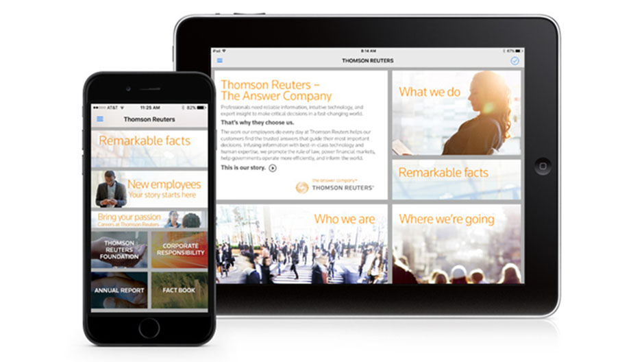 Thomson Reuters Our Story app running on multiple devices