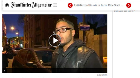 Reuters video used by Frankfurter Allgemeine Paris Raids