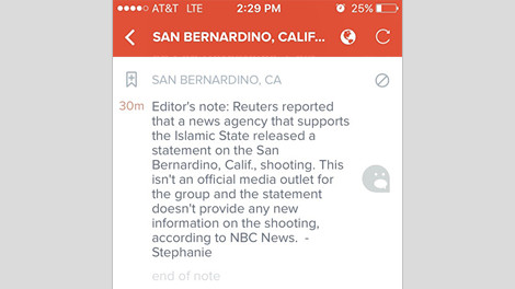 Reuters text story used by editorial team of Breaking News App San Bernardino Shooting