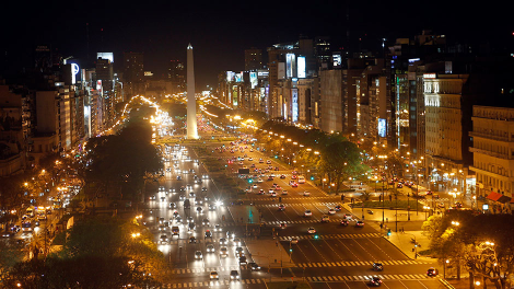 Overview of the Buenos Aires' de Julio Avenue with the Obelisk in the background, October 25 2011.