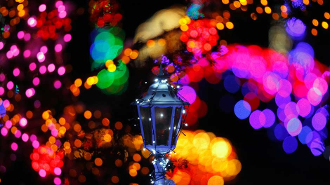Colourful lights are seen at a country house estate in the village of Grabovnica near Cazma, central Croatia, December 10, 2011.
