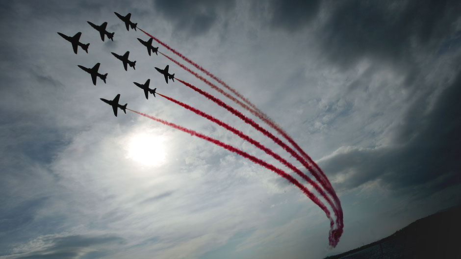 The British Royal Air Force Red Arrows squadron performs aerobatics over Athens' Saronic Gulf September 6, 2005.