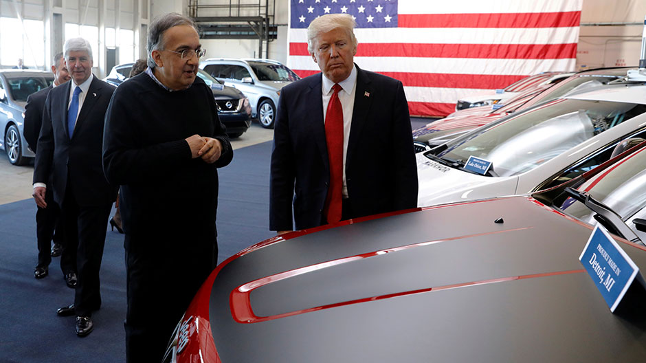U.S. President Donald Trump tours new cars with auto industry leaders at the American Center for Mobility in Ypsilanti Township, Michigan, U.S. March 15, 2017.