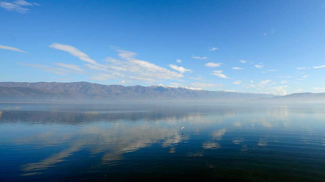 A view of Dojran Lake, 170 km (106 miles) south of the Macedonian capital Skopje, is seen February 5, 2009.